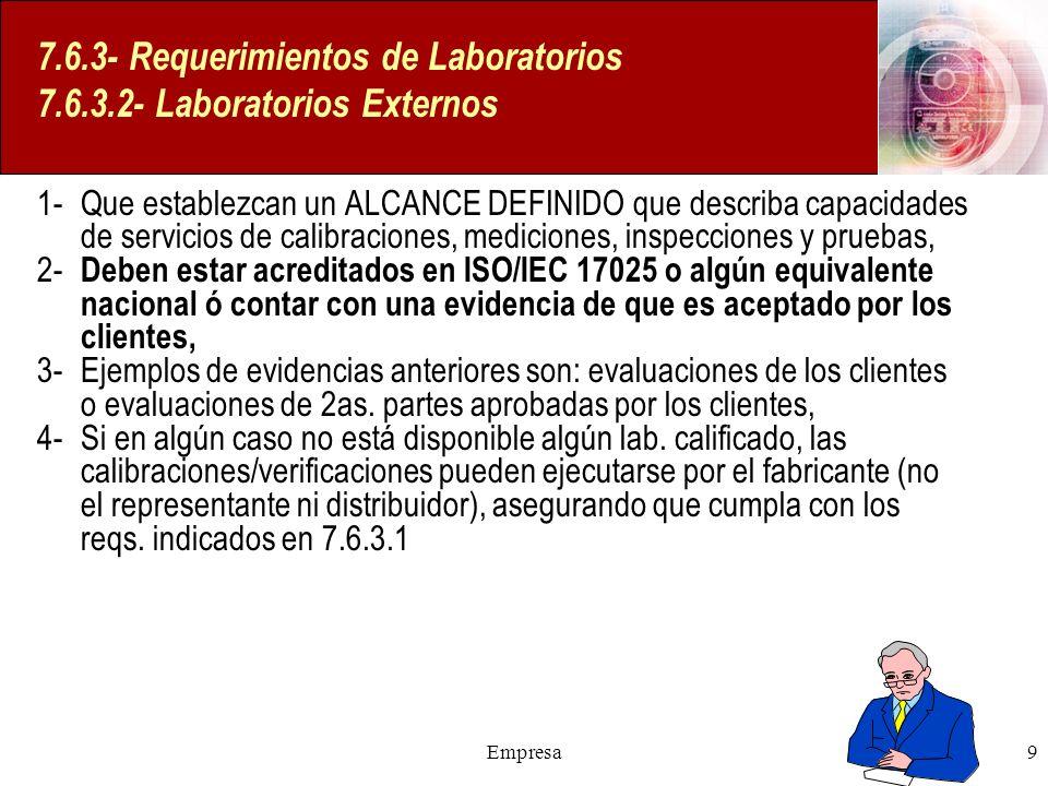 Empresa9 7.6.3- Requerimientos de Laboratorios 7.6.3.2- Laboratorios Externos 1- Que establezcan un ALCANCE DEFINIDO que describa capacidades de servi