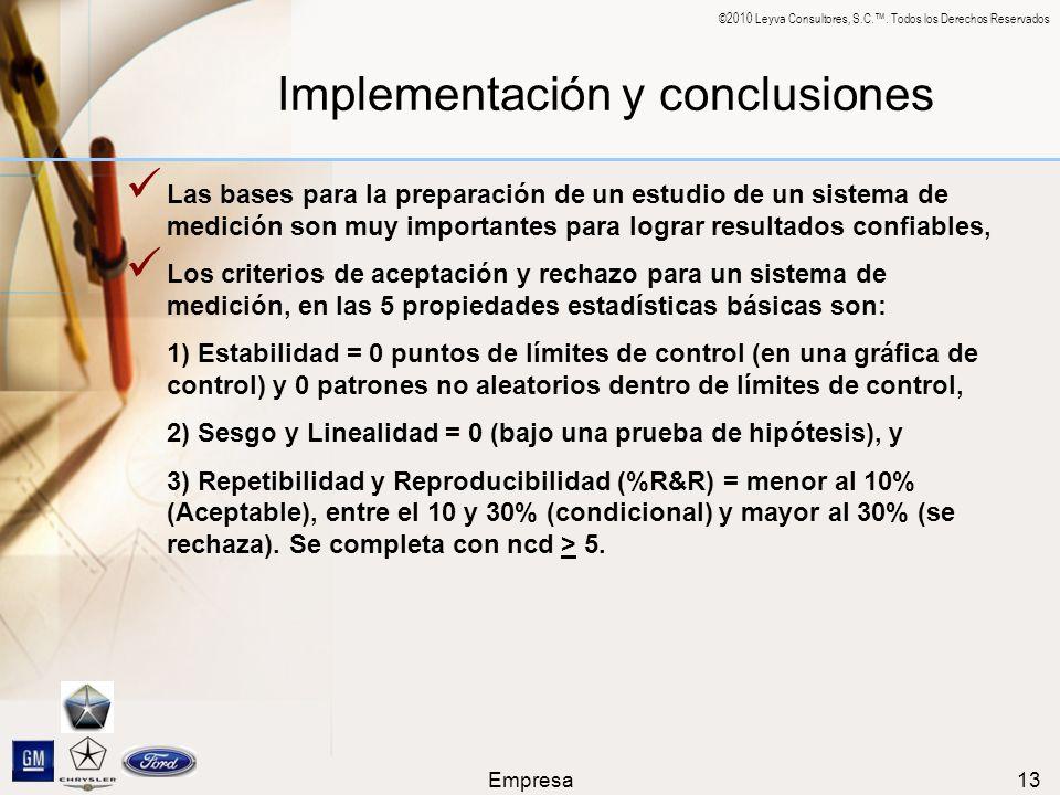 ©2010 Leyva Consultores, S.C.. Todos los Derechos Reservados Empresa13 Implementación y conclusiones Las bases para la preparación de un estudio de un