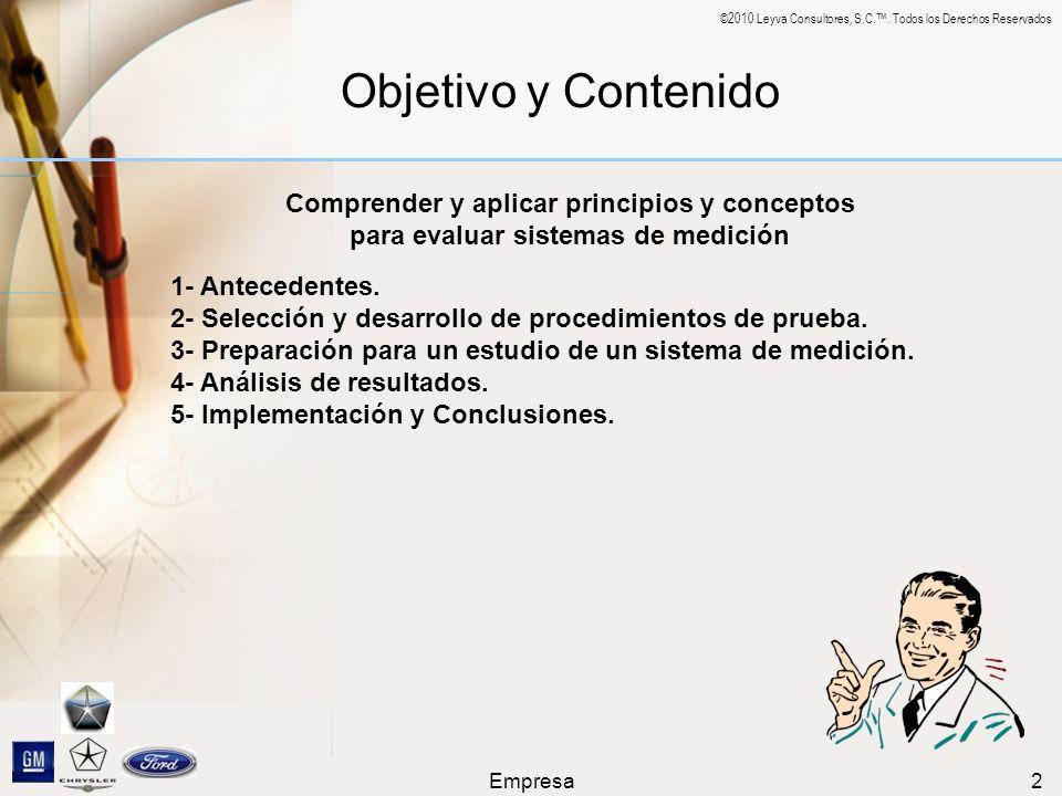 ©2010 Leyva Consultores, S.C.. Todos los Derechos Reservados Empresa2 Objetivo y Contenido 1- Antecedentes. 2- Selección y desarrollo de procedimiento