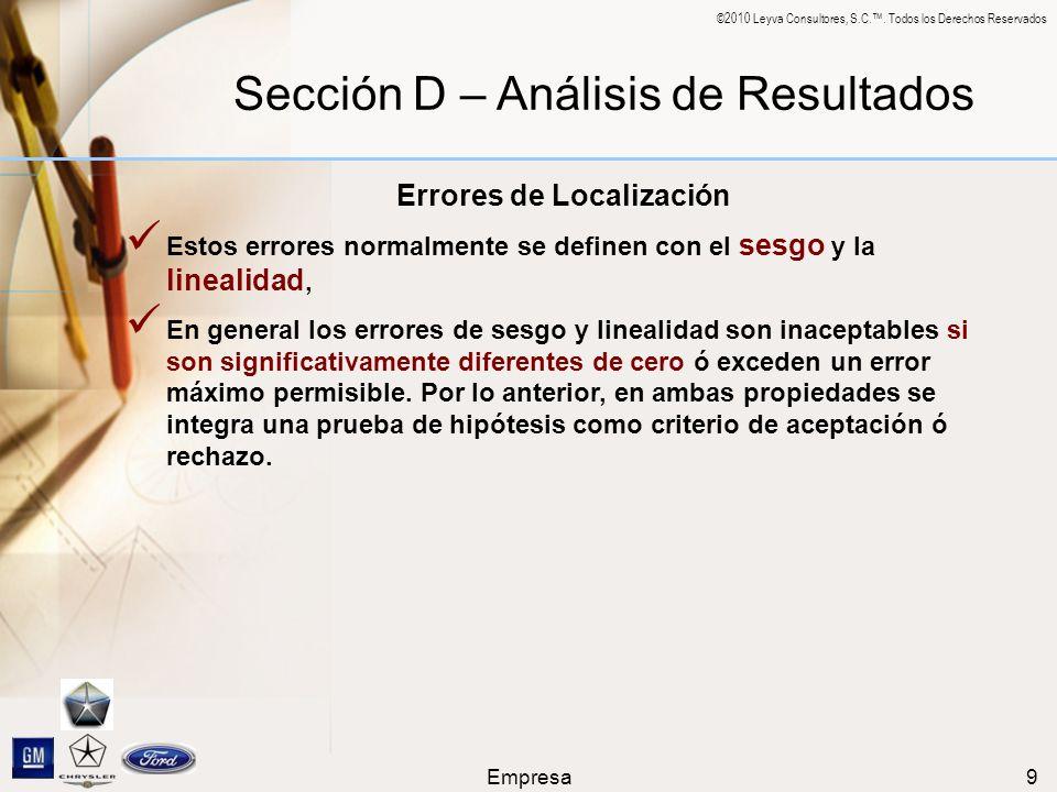 ©2010 Leyva Consultores, S.C.. Todos los Derechos Reservados Empresa9 Sección D – Análisis de Resultados Errores de Localización Estos errores normalm
