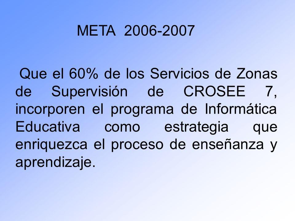 Que el 60% de los Servicios de Zonas de Supervisión de CROSEE 7, incorporen el programa de Informática Educativa como estrategia que enriquezca el pro