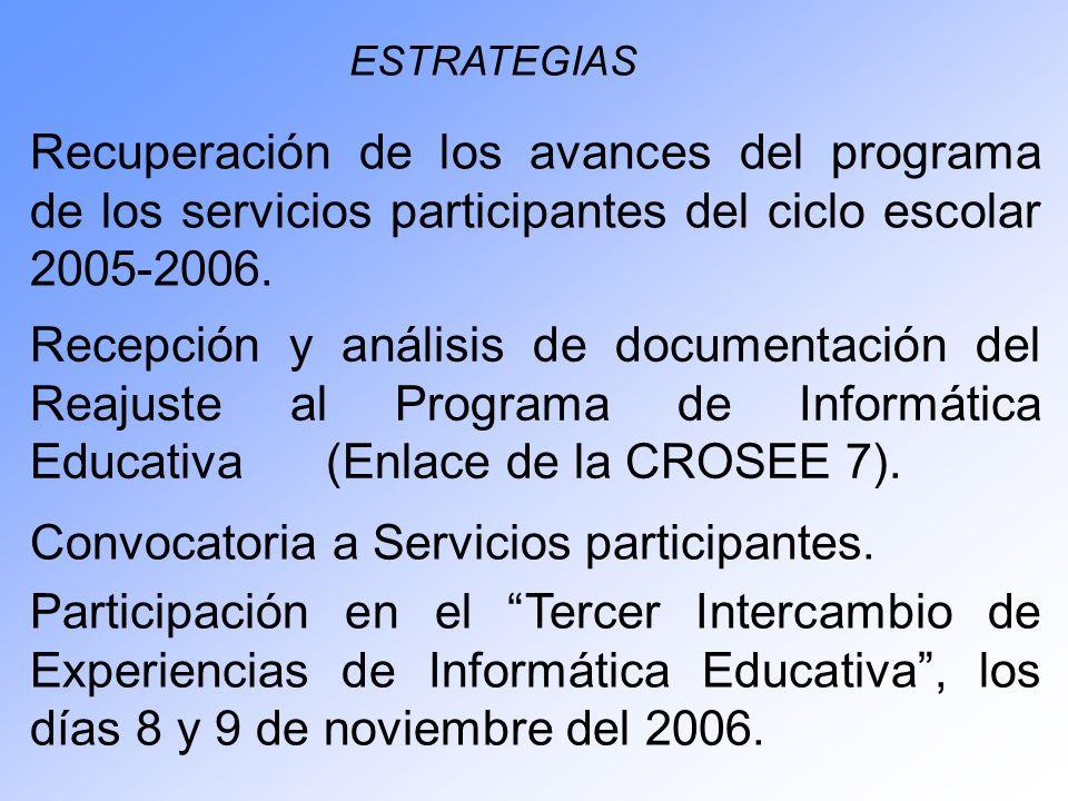 Recuperación de los avances del programa de los servicios participantes del ciclo escolar 2005-2006. ESTRATEGIAS Recepción y análisis de documentación