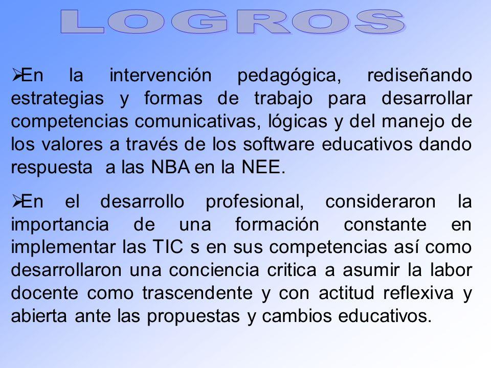 En la intervención pedagógica, rediseñando estrategias y formas de trabajo para desarrollar competencias comunicativas, lógicas y del manejo de los va