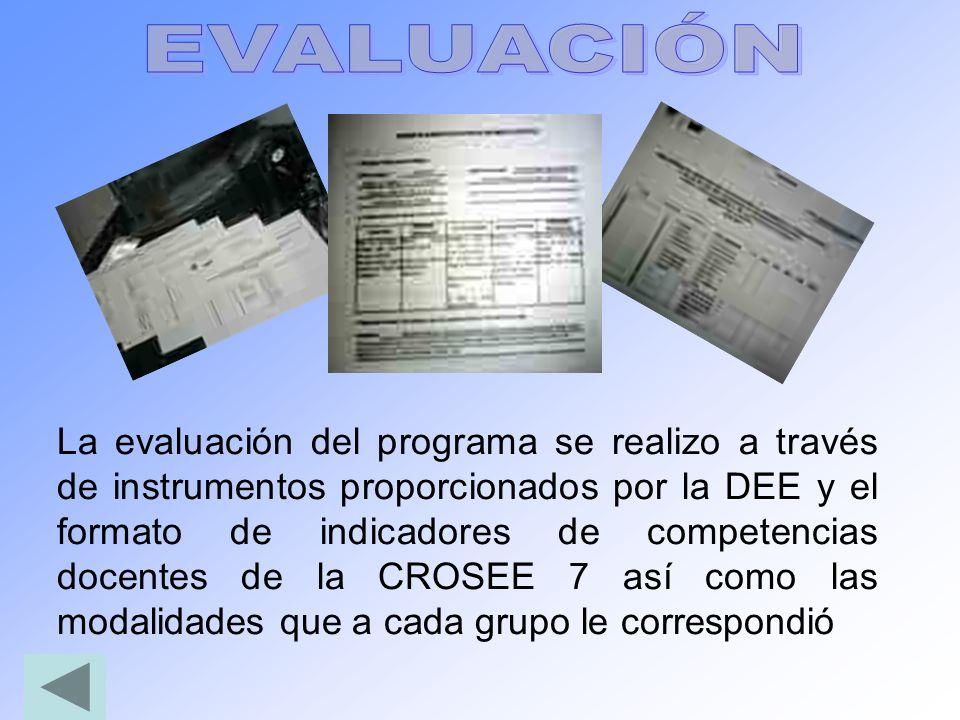 La evaluación del programa se realizo a través de instrumentos proporcionados por la DEE y el formato de indicadores de competencias docentes de la CR