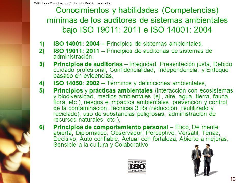 ©2011 Leyva Consultores, S.C.. Todos los Derechos Reservados 12 Conocimientos y habilidades (Competencias) mínimas de los auditores de sistemas ambien
