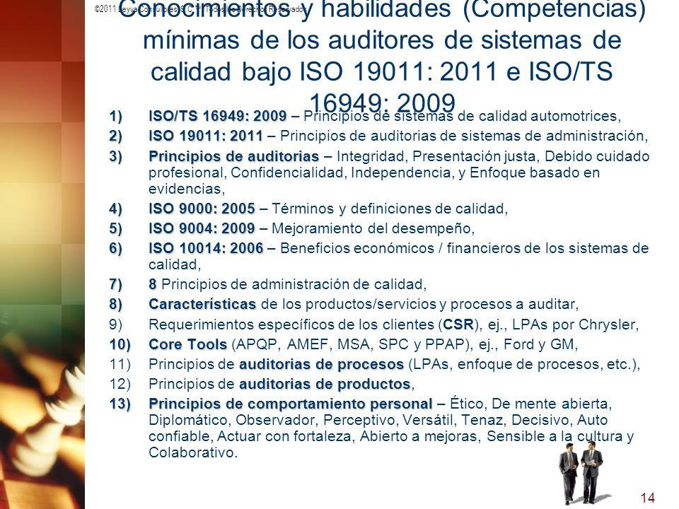 ©2011 Leyva Consultores, S.C.. Todos los Derechos Reservados 14 Conocimientos y habilidades (Competencias) mínimas de los auditores de sistemas de cal