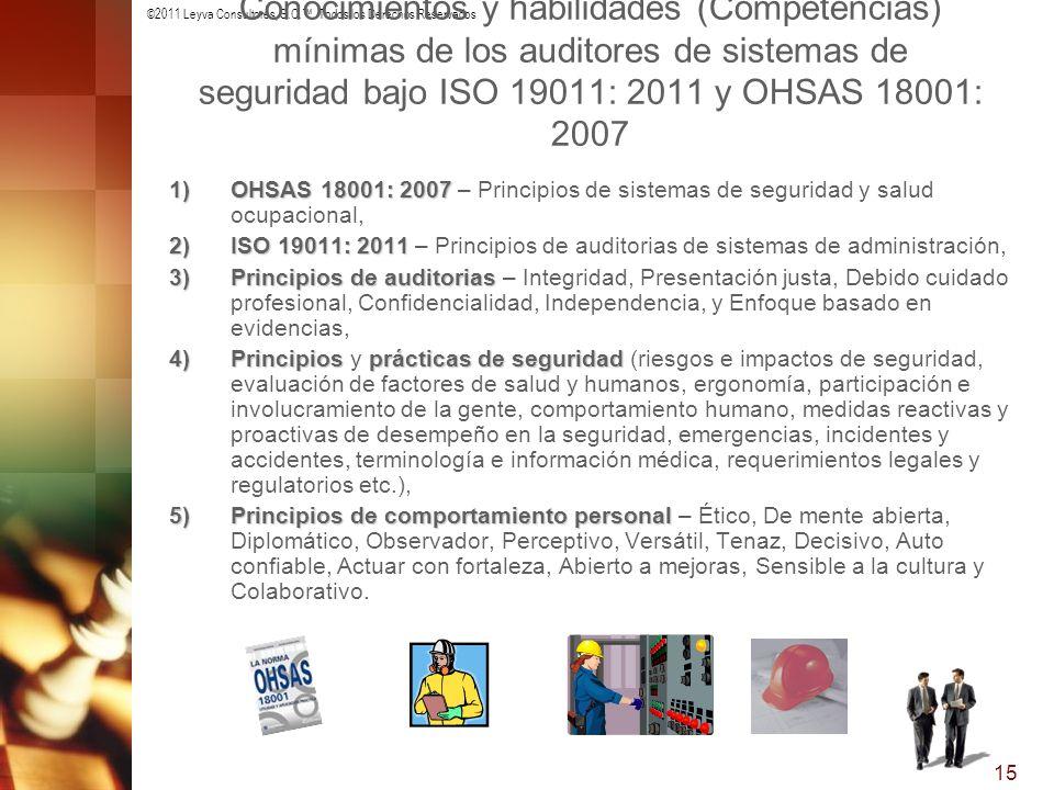 ©2011 Leyva Consultores, S.C.. Todos los Derechos Reservados 15 Conocimientos y habilidades (Competencias) mínimas de los auditores de sistemas de seg