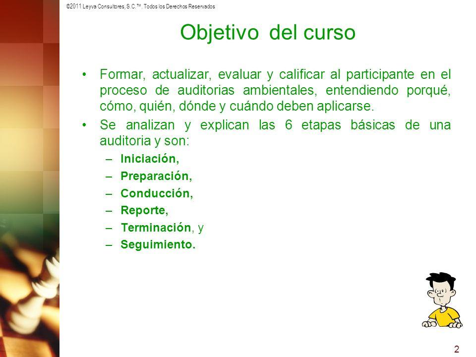 ©2011 Leyva Consultores, S.C.. Todos los Derechos Reservados 2 Objetivo del curso Formar, actualizar, evaluar y calificar al participante en el proces