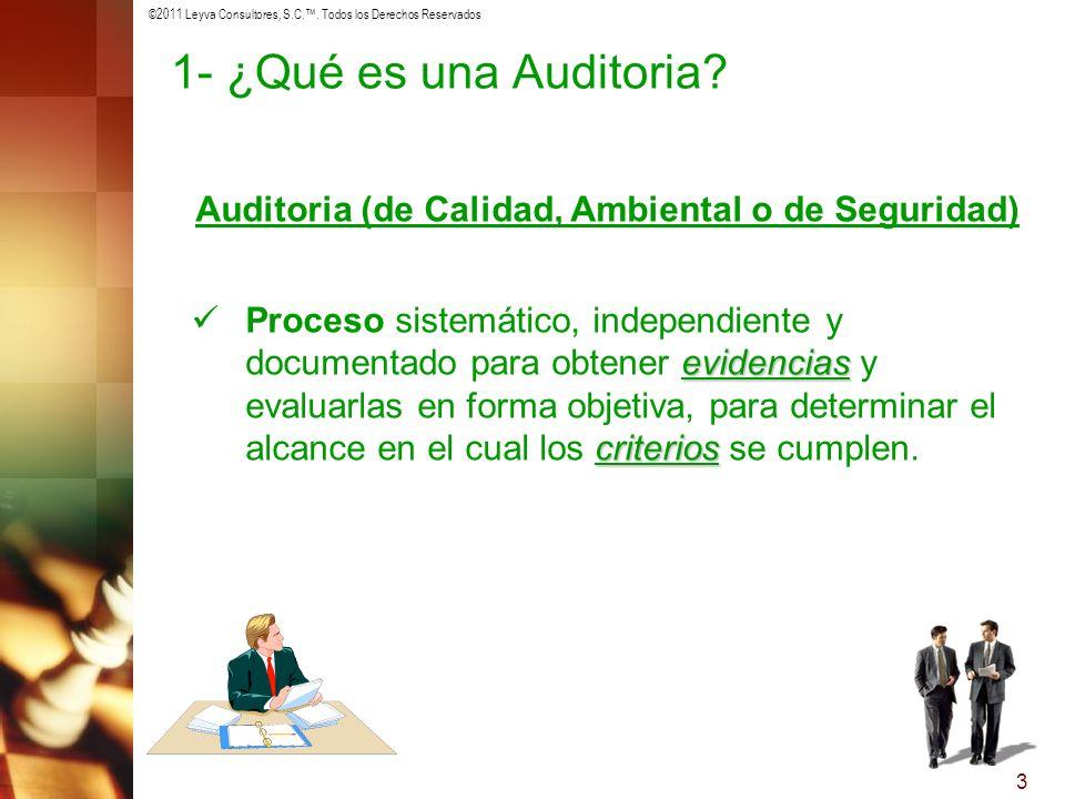 ©2011 Leyva Consultores, S.C.. Todos los Derechos Reservados 3 Auditoria (de Calidad, Ambiental o de Seguridad) evidencias criterios Proceso sistemáti