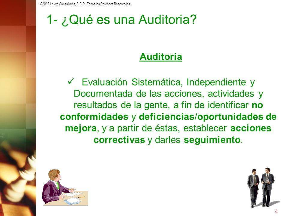 ©2011 Leyva Consultores, S.C.. Todos los Derechos Reservados 4 1- ¿Qué es una Auditoria? Auditoria Evaluación Sistemática, Independiente y Documentada