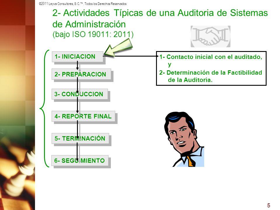 ©2011 Leyva Consultores, S.C.. Todos los Derechos Reservados 5 1- INICIACION 2- PREPARACION 3- CONDUCCION 4- REPORTE FINAL 5- TERMINACIÓN 6- SEGUIMIEN
