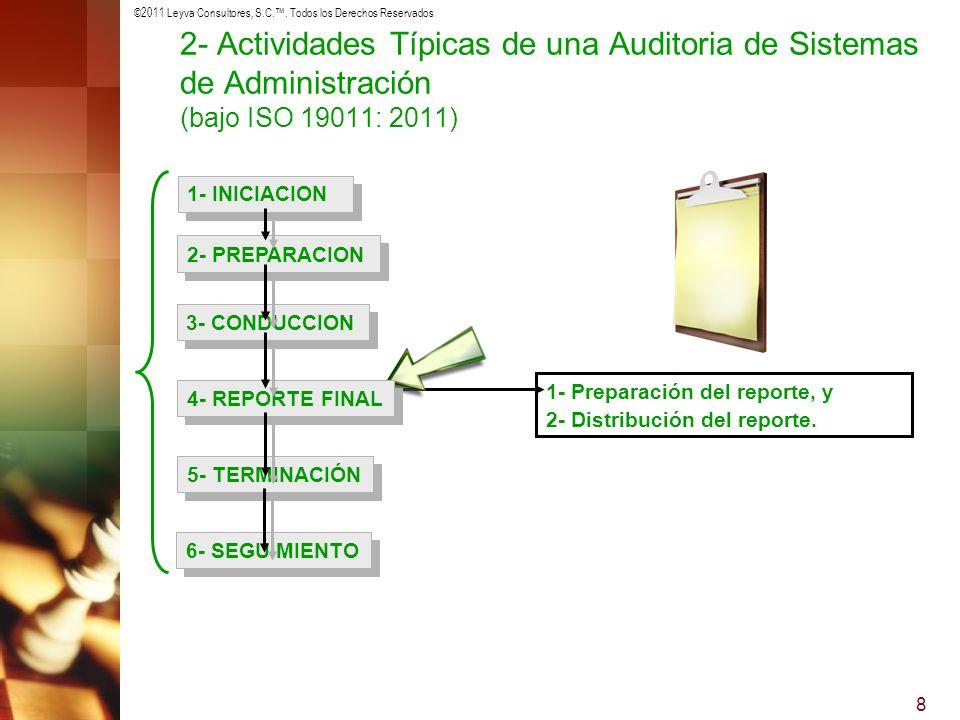 ©2011 Leyva Consultores, S.C.. Todos los Derechos Reservados 8 1- Preparación del reporte, y 2- Distribución del reporte. 1- INICIACION 2- PREPARACION