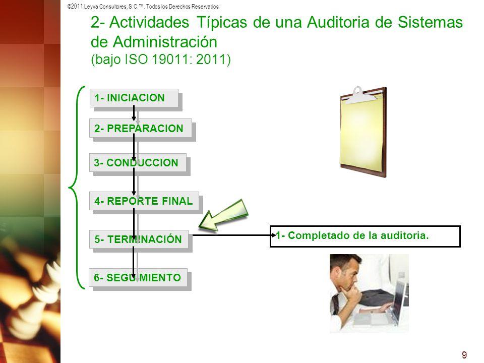©2011 Leyva Consultores, S.C.. Todos los Derechos Reservados 9 1- Completado de la auditoria. 1- INICIACION 2- PREPARACION 3- CONDUCCION 4- REPORTE FI