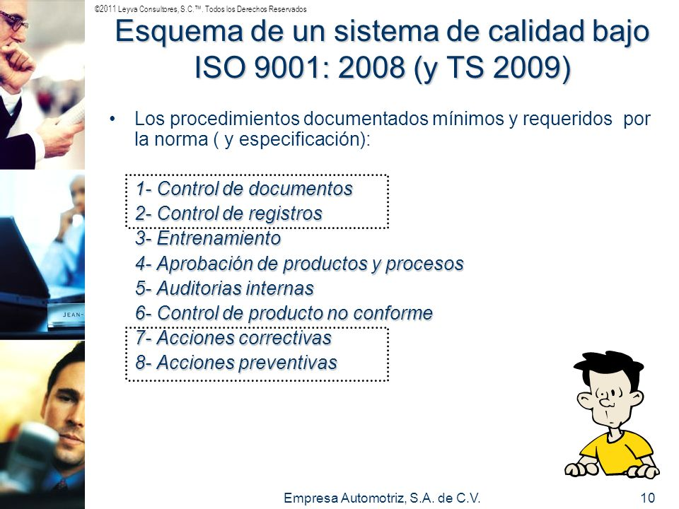 ©2011 Leyva Consultores, S.C.. Todos los Derechos Reservados Empresa Automotriz, S.A. de C.V.10 Esquema de un sistema de calidad bajo ISO 9001: 2008 (