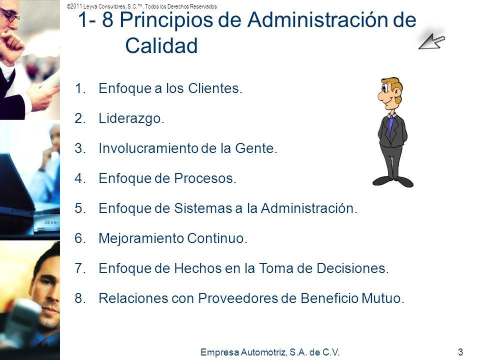 ©2011 Leyva Consultores, S.C.. Todos los Derechos Reservados Empresa Automotriz, S.A. de C.V.3 1.Enfoque a los Clientes. 2.Liderazgo. 3.Involucramient