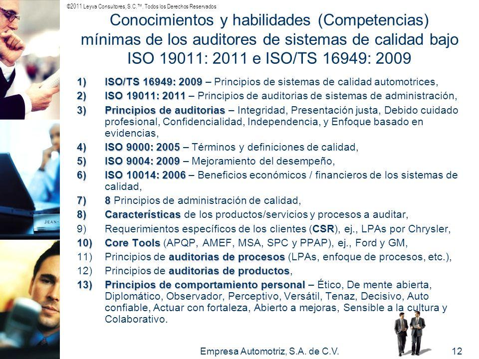 ©2011 Leyva Consultores, S.C.. Todos los Derechos Reservados Empresa Automotriz, S.A. de C.V.12 Conocimientos y habilidades (Competencias) mínimas de