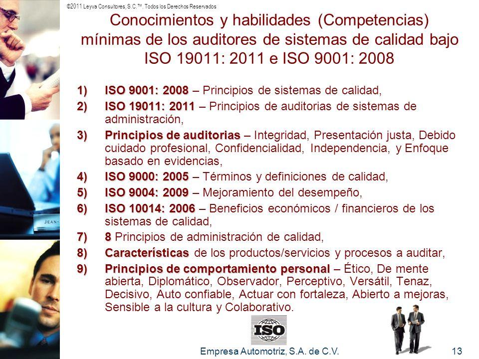 ©2011 Leyva Consultores, S.C.. Todos los Derechos Reservados Empresa Automotriz, S.A. de C.V.13 Conocimientos y habilidades (Competencias) mínimas de