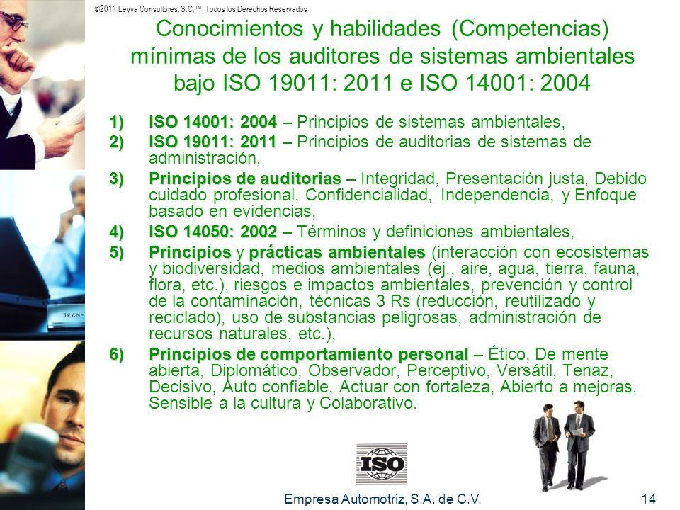 ©2011 Leyva Consultores, S.C.. Todos los Derechos Reservados Empresa Automotriz, S.A. de C.V.14 Conocimientos y habilidades (Competencias) mínimas de