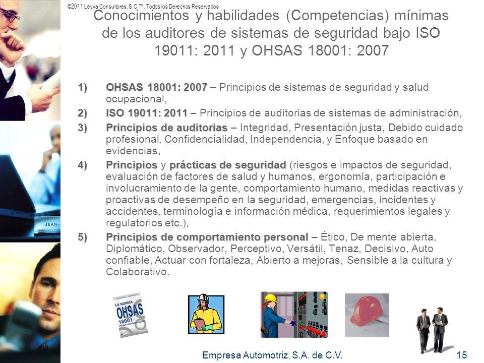 ©2011 Leyva Consultores, S.C.. Todos los Derechos Reservados Empresa Automotriz, S.A. de C.V.15 Conocimientos y habilidades (Competencias) mínimas de
