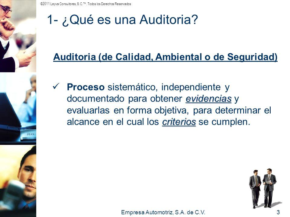 ©2011 Leyva Consultores, S.C.. Todos los Derechos Reservados Empresa Automotriz, S.A. de C.V.3 Auditoria (de Calidad, Ambiental o de Seguridad) eviden