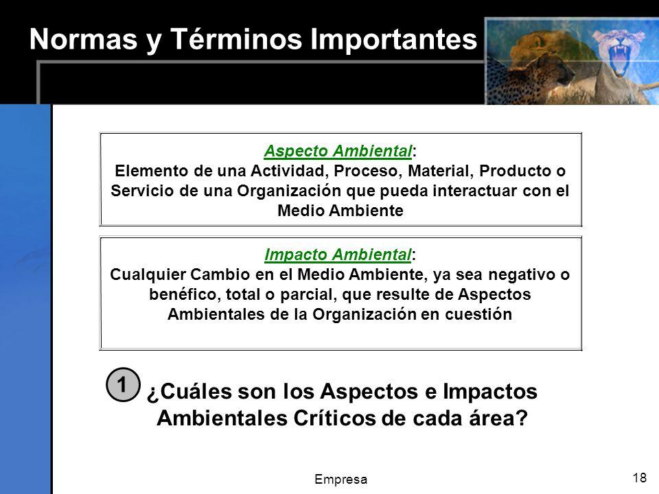 Empresa 18 Normas y Términos Importantes ¿Cuáles son los Aspectos e Impactos Ambientales Críticos de cada área? 1 Aspecto Ambiental: Elemento de una A