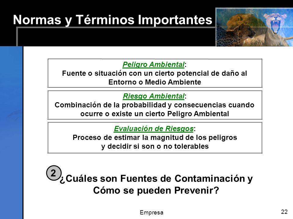 Empresa 22 Normas y Términos Importantes Peligro Ambiental: Fuente o situación con un cierto potencial de daño al Entorno o Medio Ambiente Evaluación