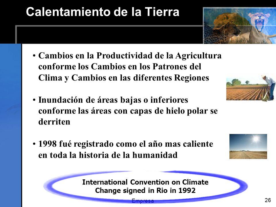 Empresa 26 Calentamiento de la Tierra Cambios en la Productividad de la Agricultura conforme los Cambios en los Patrones del Clima y Cambios en las diferentes Regiones Inundación de áreas bajas o inferiores conforme las áreas con capas de hielo polar se derriten 1998 fué registrado como el año mas caliente en toda la historia de la humanidad International Convention on Climate Change signed in Rio in 1992