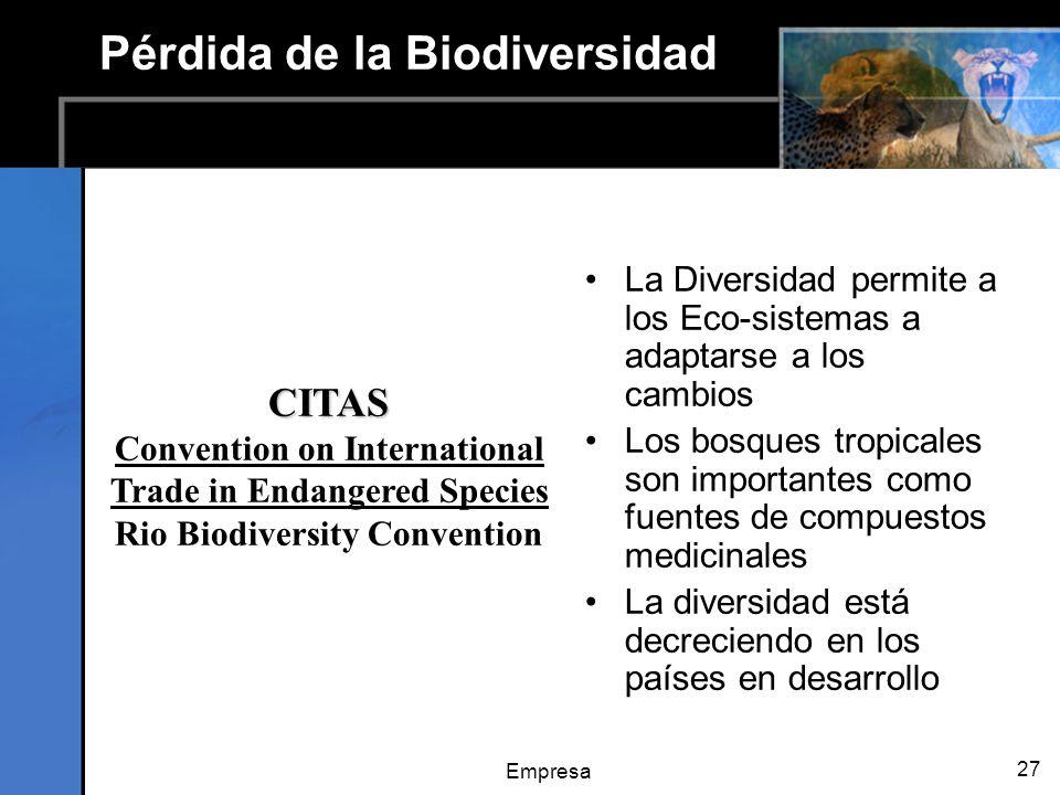 Empresa 27 Pérdida de la Biodiversidad La Diversidad permite a los Eco-sistemas a adaptarse a los cambios Los bosques tropicales son importantes como fuentes de compuestos medicinales La diversidad está decreciendo en los países en desarrollo CITAS Convention on International Trade in Endangered Species Rio Biodiversity Convention