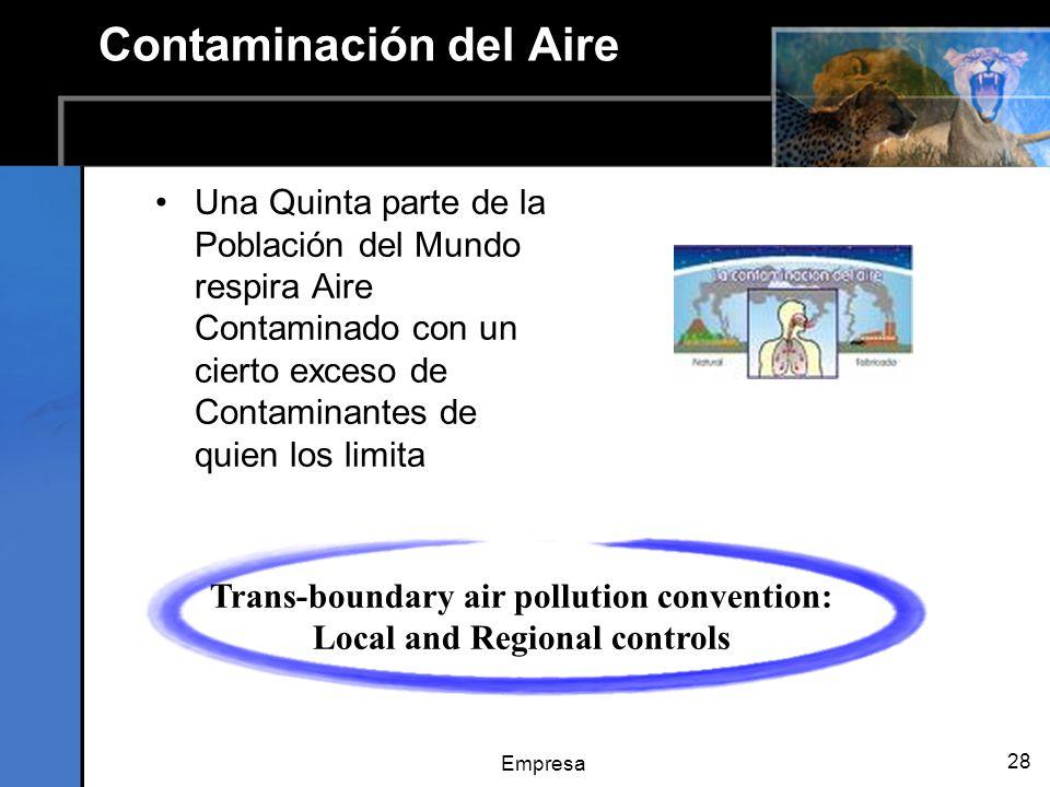 Empresa 28 Contaminación del Aire Una Quinta parte de la Población del Mundo respira Aire Contaminado con un cierto exceso de Contaminantes de quien los limita Trans-boundary air pollution convention: Local and Regional controls