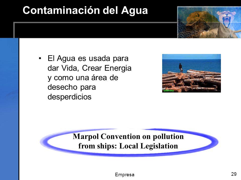 Empresa 29 Contaminación del Agua El Agua es usada para dar Vida, Crear Energia y como una área de desecho para desperdicios Marpol Convention on pollution from ships: Local Legislation