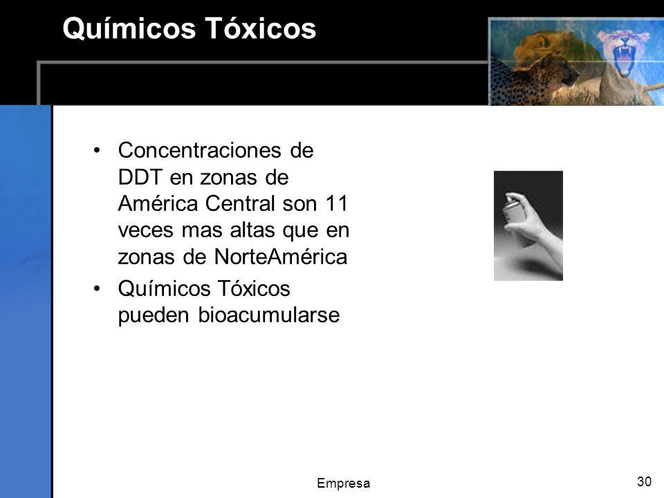 Empresa 30 Químicos Tóxicos Concentraciones de DDT en zonas de América Central son 11 veces mas altas que en zonas de NorteAmérica Químicos Tóxicos pueden bioacumularse