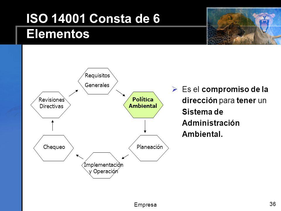 Empresa 36 ISO 14001 Consta de 6 Elementos Es el compromiso de la dirección para tener un Sistema de Administración Ambiental. Planeación Requisitos G