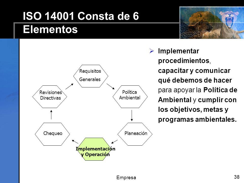 Empresa 38 ISO 14001 Consta de 6 Elementos Implementar procedimientos, capacitar y comunicar qué debemos de hacer para apoyar la Política de Ambiental y cumplir con los objetivos, metas y programas ambientales.