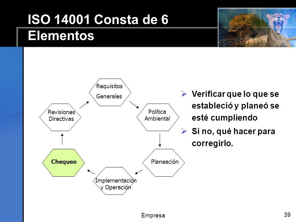 Empresa 39 ISO 14001 Consta de 6 Elementos Verificar que lo que se estableció y planeó se esté cumpliendo Si no, qué hacer para corregirlo.