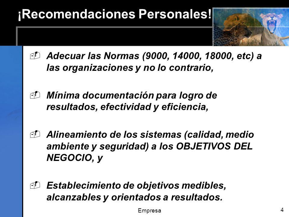 Empresa 4 ¡Recomendaciones Personales! Adecuar las Normas (9000, 14000, 18000, etc) a las organizaciones y no lo contrario, Mínima documentación para