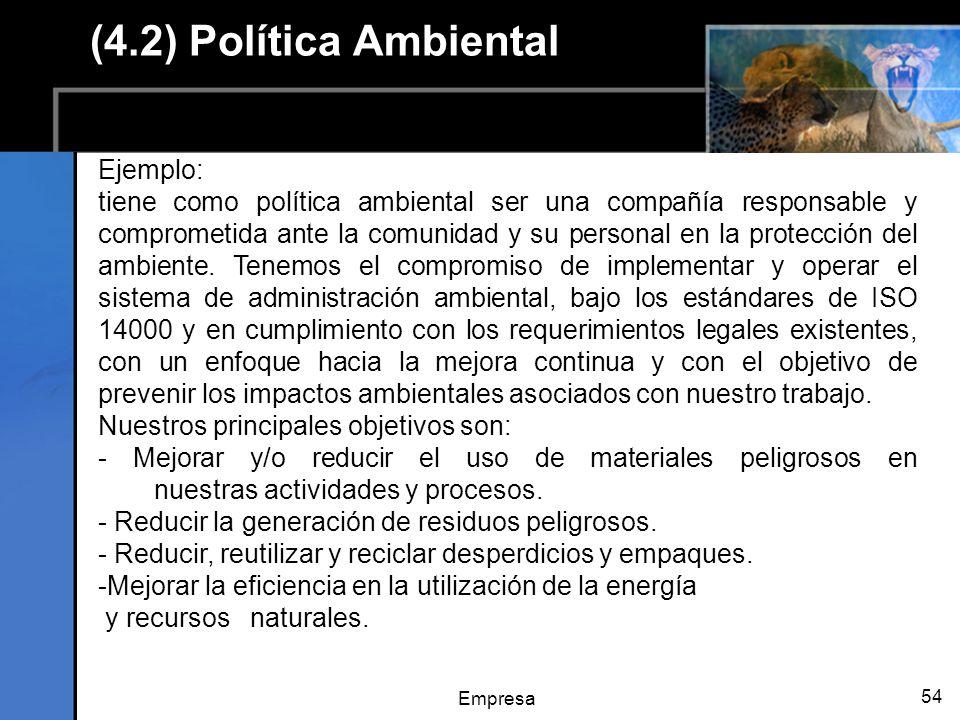 Empresa 54 (4.2) Política Ambiental Ejemplo: tiene como política ambiental ser una compañía responsable y comprometida ante la comunidad y su personal en la protección del ambiente.