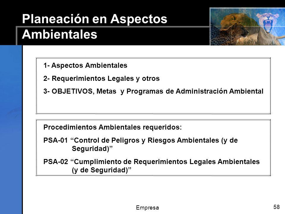 Empresa 58 Planeación en Aspectos Ambientales 1- Aspectos Ambientales 2- Requerimientos Legales y otros 3- OBJETIVOS, Metas y Programas de Administración Ambiental Procedimientos Ambientales requeridos: PSA-01 Control de Peligros y Riesgos Ambientales (y de Seguridad) PSA-02 Cumplimiento de Requerimientos Legales Ambientales (y de Seguridad)