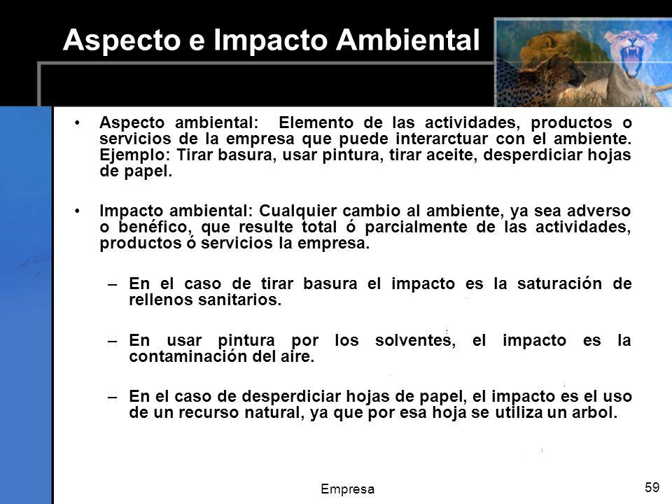 Empresa 59 Aspecto e Impacto Ambiental Aspecto ambiental: Elemento de las actividades, productos o servicios de la empresa que puede interarctuar con el ambiente.