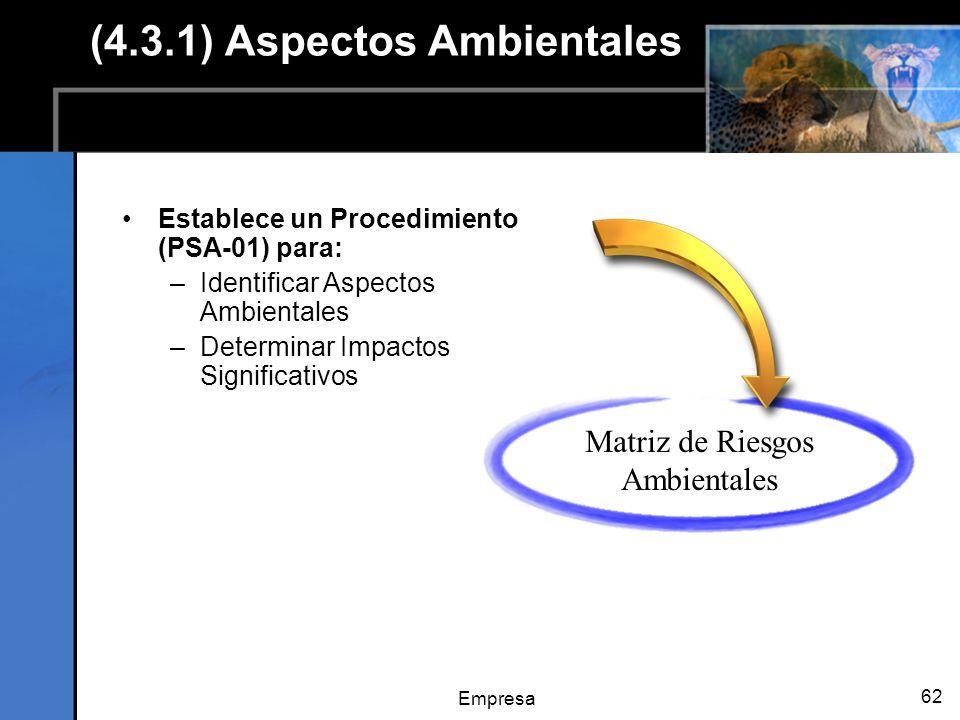 Empresa 62 (4.3.1) Aspectos Ambientales Establece un Procedimiento (PSA-01) para: –Identificar Aspectos Ambientales –Determinar Impactos Significativos Matriz de Riesgos Ambientales
