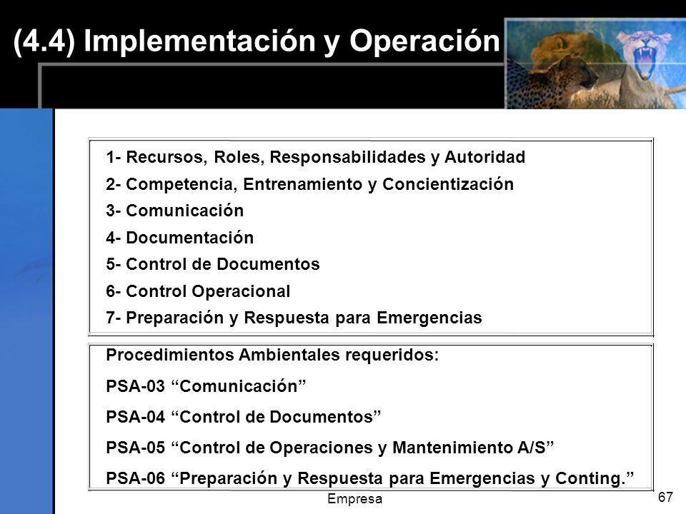 Empresa 67 1- Recursos, Roles, Responsabilidades y Autoridad 2- Competencia, Entrenamiento y Concientización 3- Comunicación 4- Documentación 5- Control de Documentos 6- Control Operacional 7- Preparación y Respuesta para Emergencias Procedimientos Ambientales requeridos: PSA-03 Comunicación PSA-04 Control de Documentos PSA-05 Control de Operaciones y Mantenimiento A/S PSA-06 Preparación y Respuesta para Emergencias y Conting.