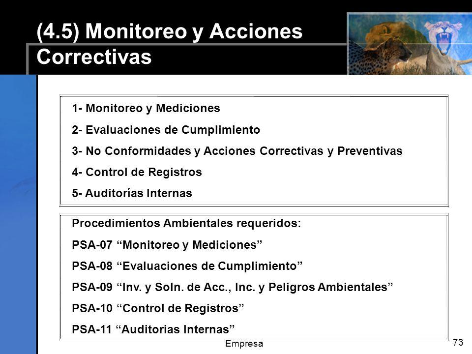 Empresa 73 (4.5) Monitoreo y Acciones Correctivas 1- Monitoreo y Mediciones 2- Evaluaciones de Cumplimiento 3- No Conformidades y Acciones Correctivas y Preventivas 4- Control de Registros 5- Auditorías Internas Procedimientos Ambientales requeridos: PSA-07 Monitoreo y Mediciones PSA-08 Evaluaciones de Cumplimiento PSA-09 Inv.