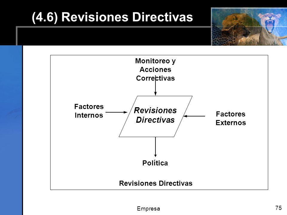 Empresa 75 (4.6) Revisiones Directivas Factores Externos Monitoreo y Acciones Correctivas Factores Internos Política Revisiones Directivas