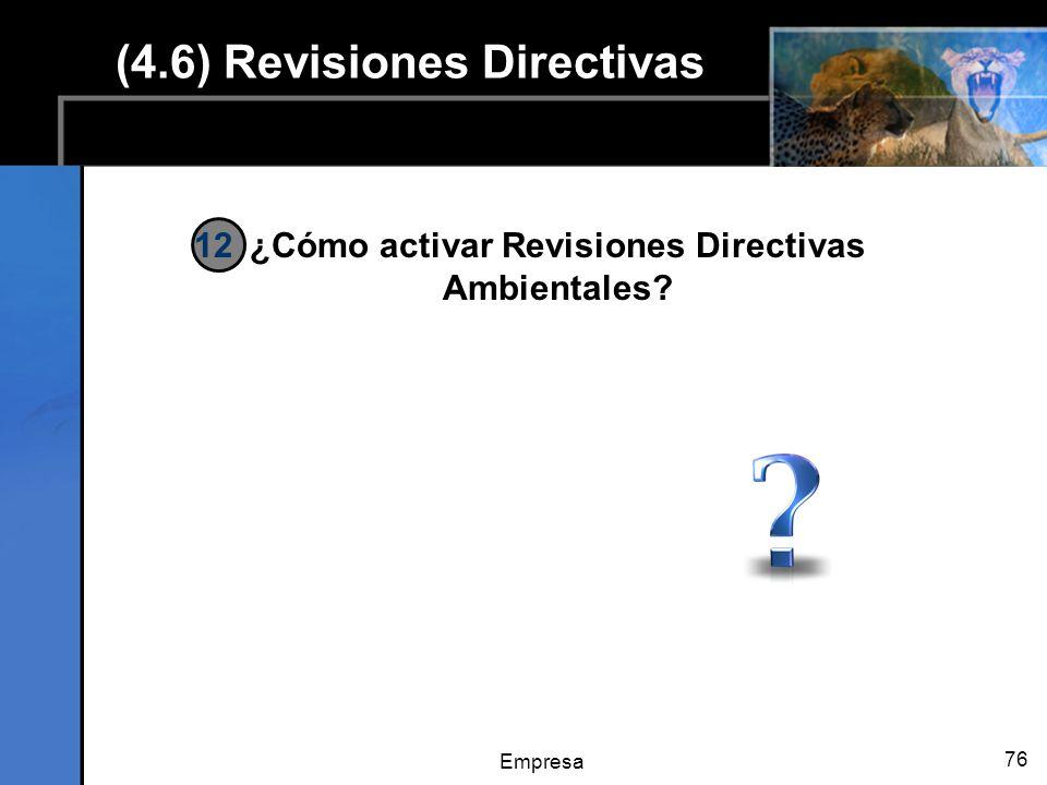 Empresa 76 (4.6) Revisiones Directivas ¿Cómo activar Revisiones Directivas Ambientales? 12
