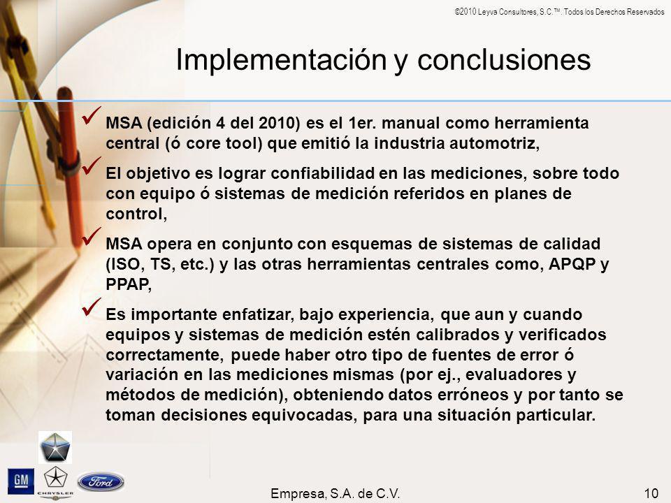 ©2010 Leyva Consultores, S.C.. Todos los Derechos Reservados Empresa, S.A. de C.V.10 Implementación y conclusiones MSA (edición 4 del 2010) es el 1er.