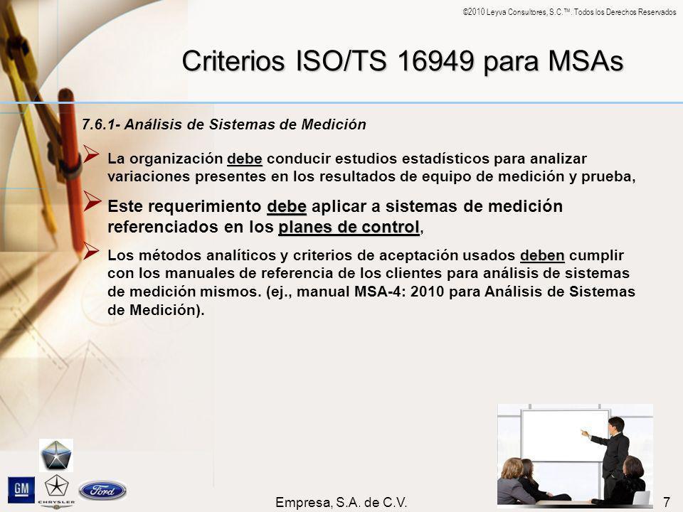 ©2010 Leyva Consultores, S.C.. Todos los Derechos Reservados Empresa, S.A. de C.V.7 Criterios ISO/TS 16949 para MSAs 7.6.1- Análisis de Sistemas de Me