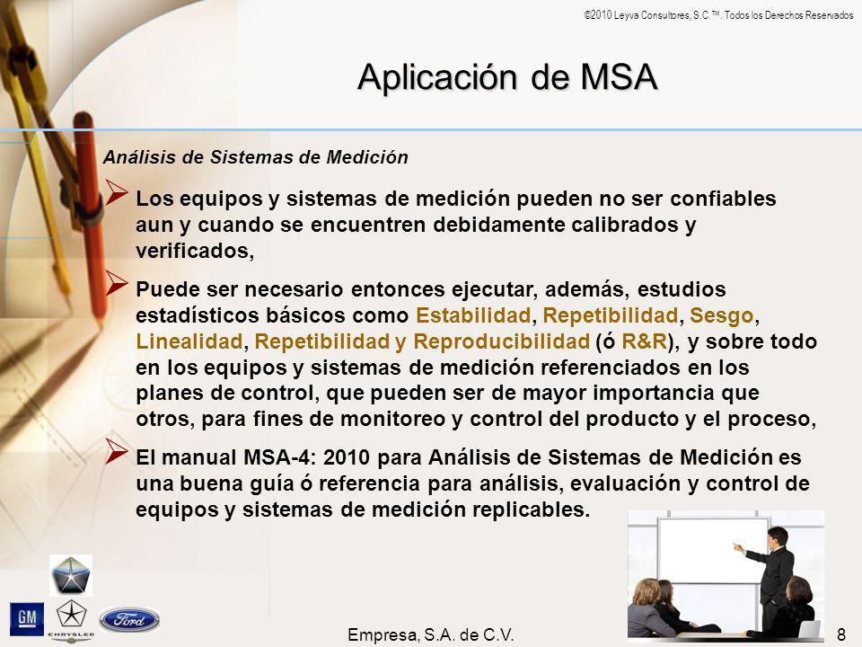 ©2010 Leyva Consultores, S.C.. Todos los Derechos Reservados Empresa, S.A. de C.V.8 Aplicación de MSA Análisis de Sistemas de Medición Los equipos y s