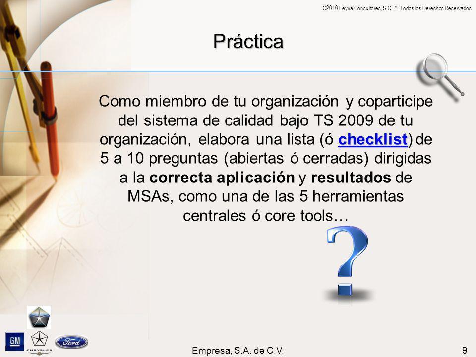 ©2010 Leyva Consultores, S.C.. Todos los Derechos Reservados Empresa, S.A. de C.V.9 Práctica checklist checklist Como miembro de tu organización y cop