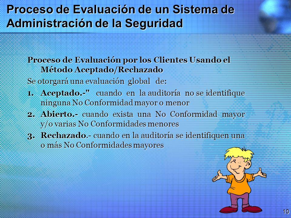 9 Proceso de Evaluación de un Sistema de Administración de la Seguridad Definiciones No conformidad mayor.- Ausencia o falta total de un sistema, para