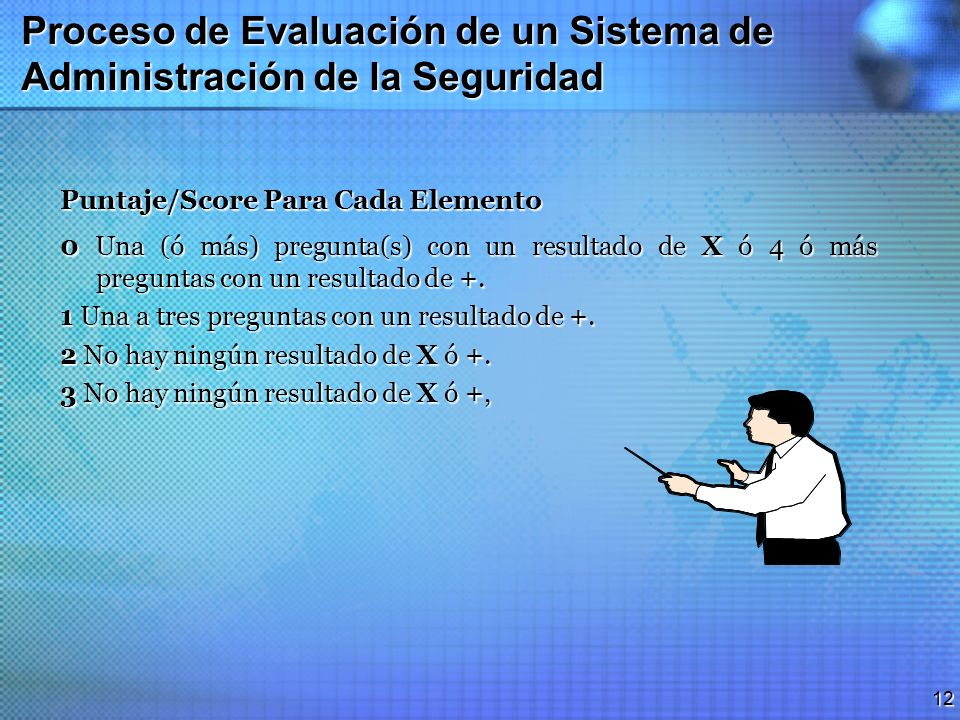 11 Proceso de Evaluación de un Sistema de Administración de la Seguridad Proceso de Evaluación por los Clientes Usando el Método de Puntaje/ Score Var