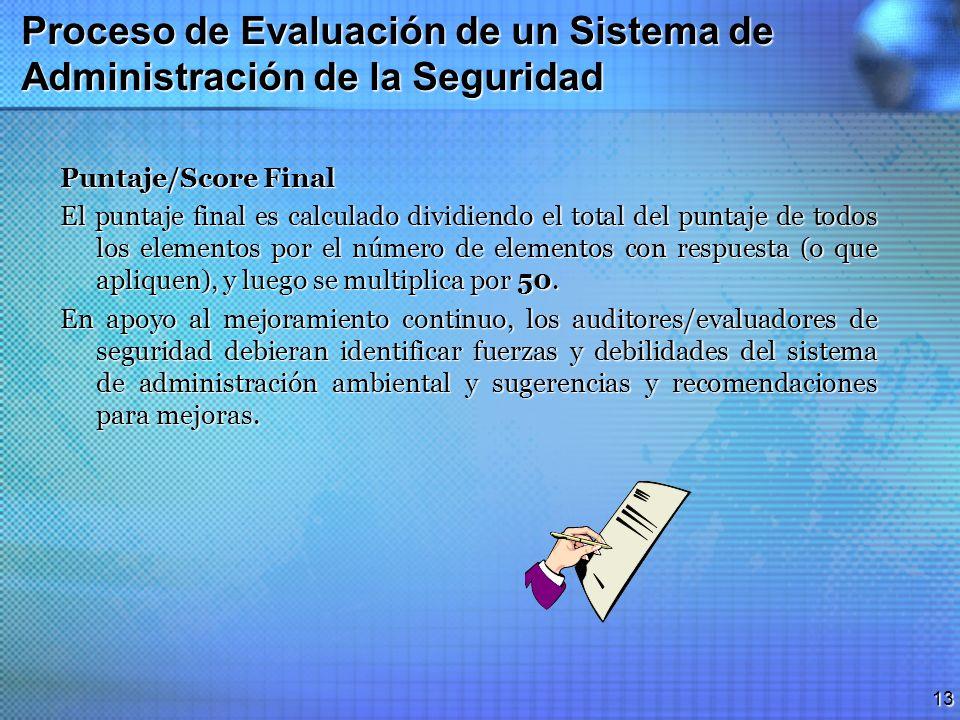 12 Proceso de Evaluación de un Sistema de Administración de la Seguridad Puntaje/Score Para Cada Elemento 0 Una (ó más) pregunta(s) con un resultado d